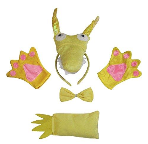 Petitebelle 3D-Stirnband Bowtie Schwanz Handschuhe Unisex Adult 4pc Kostüm Einheitsgröße 3d Drachen