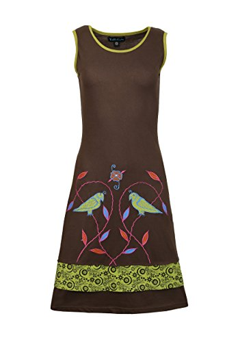 Dame-Sommer-Sleeveless Kleid mit Vogel und Blatt-Patch und Stickerei