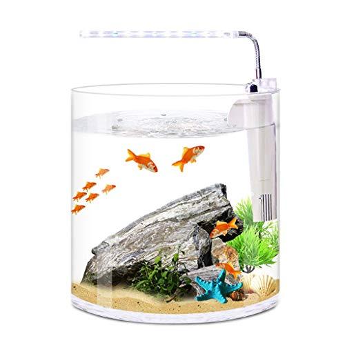 LF stores Aquarien Desktop Kreative Mini Glas Runde Aquarium Home Wohnzimmer Büro Filter LED-Licht Aquarium Fisch- Behälter (Größe : S) -