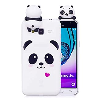 Aeeque 3D Cartoon Candy Color Panda Design for Samsung Galaxy J3/J3 2016 5.0 inch, Ultra Slim Thin Soft Crystal Flexible Back Silicone Bumper [Anti Scratch] Protection Cover - White