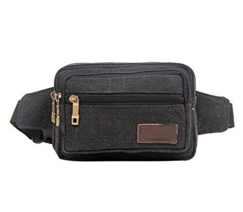ZYT Multi-Funktions-Zippertaschen und Frauen Retro Leinwand Handy Tasche Black