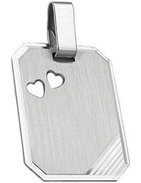 Unbespielt Schmuck Kettenanhänger Silberanhaenger für Halskette Unisex Gravurplatte Öse innen 5 x 2 mm 925 Silber 20 x 15 mm inkl. kleiner Schmuckbox