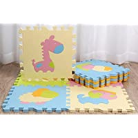 9 Pcs Cute Animal EVA Foam Play Mats Floor Puzzle Crawling Play Game Mat for Baby Kids Childre Toddlers -Bright Color,Environmental Material, Safe to Use