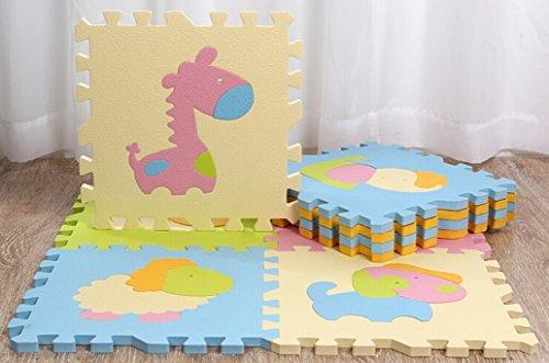 tianmei 9PCS Cute Animal Eva Foam Play Mats Boden Puzzle kriechen Play Spiel Matte für Baby Kinder-Kleinkind–Helle Farbe, umweltfreundliche Material, sicher zu verwenden (Holz-boden-schaum)