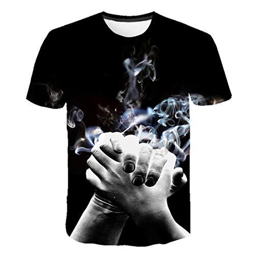 Streifen Männer Casual T-Shirt Kurzarm Sommer Hip Hop T-Shirt Streetwear Casual Tops Tees Schwarz Weiß TS5803 Asian Size L -