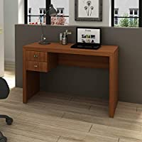 Tecnomobili MDP 15mm Office Desk With 2 Drawers, Almond Brown, H75 x W117 x D47 cm