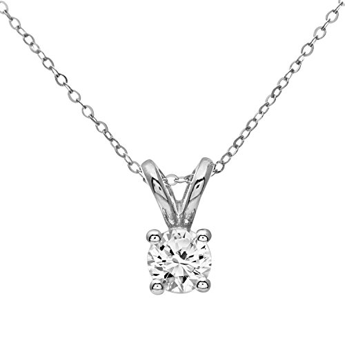Naava Women's 9 ct White Gold 0.33ct Single Stone Diamond Pendant + 46 cm White Gold Trace Chain Necklace