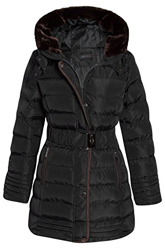 womens-faux-fur-trim-hooded-quilted-padded-warm-long-belted-winter-coat-g130-black-14