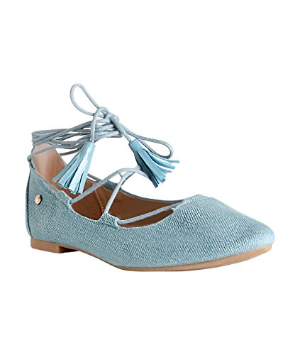 Krisp® Ladies Ballerine Con Cinturino Gladiator Allacciatura Blu Denim (17077)