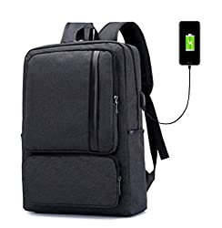 Super Modern Unisex Nylon School Backpack With Usb Charger Port Laptop Bag For Teen Girls & Boys Cool Business Backpack Work Bag