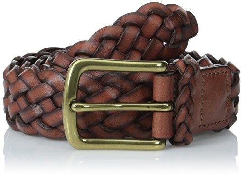 Torino Leather Co. Men's 30MM Braided Harness Dark Tan Belt 34