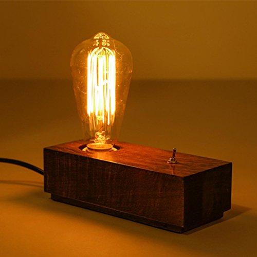 SHDT Retro Holzbasis E27 Edison Glühlampe Tischlampe Holz Schlafzimmer Nachttischlampe Schreibtischlampe Wohnzimmer Wohnkultur