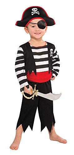 Tante Tina Piraten Kostüm für Jungen - Schwarz, Rot, Weiß - M - Gr. 128 - 5-7 Jahre