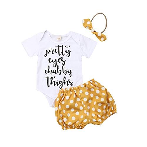 Funboxs Neugeborenes Baby Mädchen Outfits Sets Leopard Dot Print Kleidung Top Strampler Kurze Hosen Sommer Nette Bowknot Stirnband Freizeitanzug 0-24 Mt (18-24 M, Yellow) Baby Leopard Print