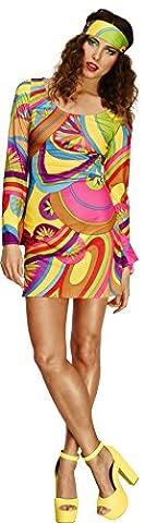 Fever, Damen 70er Flower Power Kostüm, Kleid und Kopftuch, Größe: S, 30462 (70er Jahre Disco-kostüme Für Kinder)