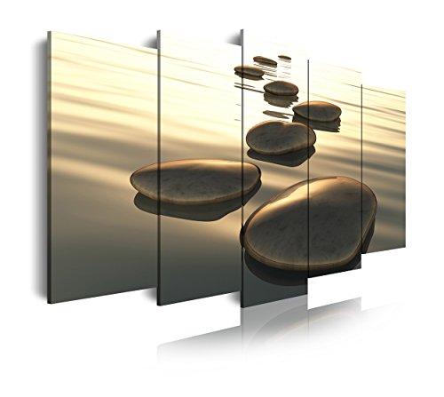 Dekoarte 92 - Cuadro moderno en lienzo de 5 piezas, estilo zen-feng shui piedras en equilibrio tonos dorados, 150x80cm