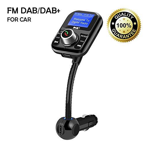 Auto DAB/DAB + Empfänger Europäischer Digitaler Radio-Tuner FM Transmitter mit Bluetooth Freisprecheinrichtung, 1.4 Zoll LCD Display, 3,5 mm Aux-Ausgang, TF-Karte/USB Anschluss -