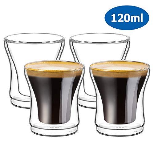 Ecooe Doppelwandige Espressotassen Espresso Glaser Set 4-teiliges 120ml(Volle Kapazitat)