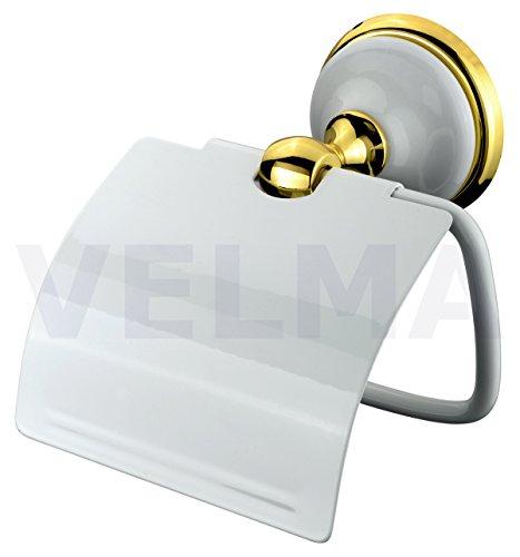 Preisvergleich Produktbild VELMA - 278351 - Eleganter Toilettenpapierhalter in einem absolut exclusiven Design - Aus unserer Serie Bianco Gold - Das Material besteht aus Messing, einer Zinklegierung, hochwertiger Keramik und 18 Gold - 100 % rostfrei - Premium Qualität