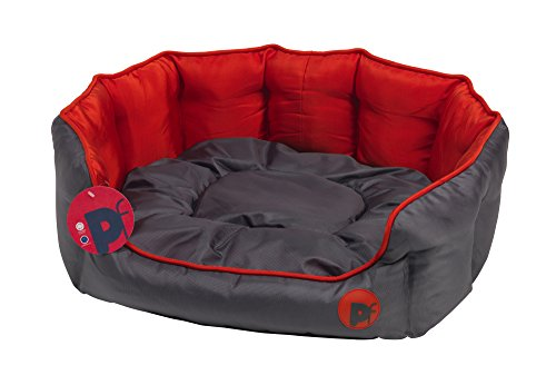 Petface Waterproof Oxford Pet Bed Puppy Dog Luxury Bedding Reversible Cushion - Oval Medium (Red) Best Price and Cheapest