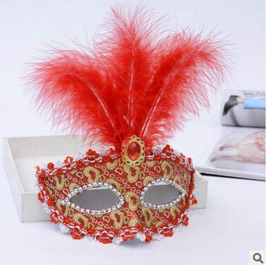 TWELVEMJ Frau Mädchen Federmaske Spitze gesäumt Perle Partei Maske venezianischen Kostüm Ball Bar Maskerade Geschenk Halloween-Dekor, 3Stil - Spitze Gesäumt