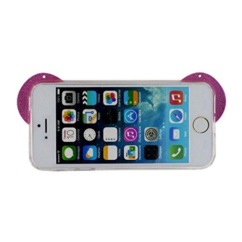 iPhone SE Ultra Mince Fine Doux TPU Silicone Transparente Charmant Panda Forme Serie Anti choc Coque Case Etui Protection pour iPhone 5 5S SE Avec 1 stylet rose