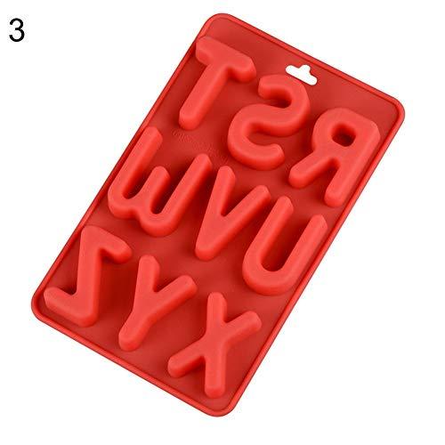 Ruby569y - Stampo in silicone per cubetti di ghiaccio, lettere inglesi per torte e biscotti, colore casuale 3