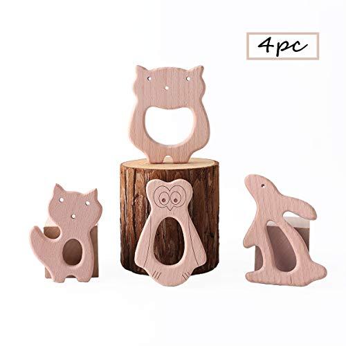 Best for baby 4PC Baby Teether Pflegemittel DIY Kinderwagen Spielzeug Holz Fünf-spitzer Stern Kamera Auto Gitarre Handgefertigt BPA frei
