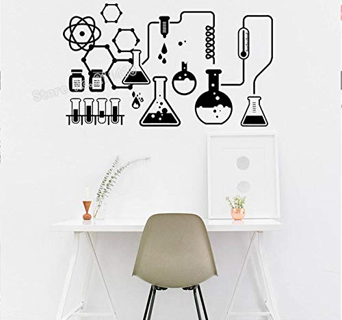 Schule Science Labs (Science Lab Wandaufkleber Chemische Ausrüstung Aufkleber Dekoration Wissenschaftler Chemie Schule selbstklebende Vinyl Wandbilder 56 * 33 cm)