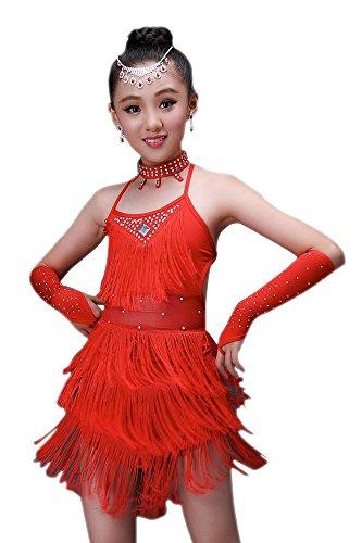 Bozevon ragazza vestiti da ballo abito vestito con paillettes abbigliamento da danza abiti di danza latina
