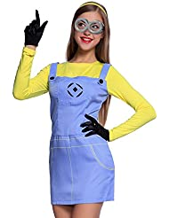 Erwachsenne Damen Halloween Karneval Kostuem Minions Minion Kostuem Despicable Me Fancy Dress Damenkostuem Overall Outfit