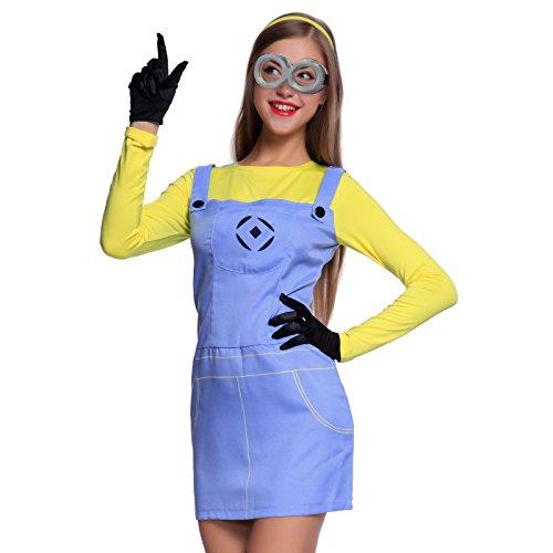 Anladia Gelb-Blau Halloween Damen Kostüm Fancy Dress Kleid -