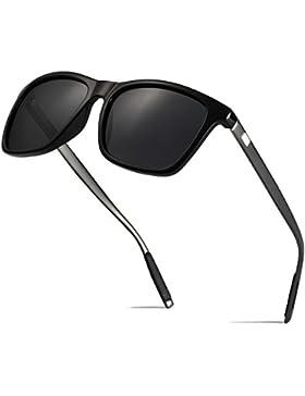 BOYOU Retro Vintage Polarizado Wayfarer Gafas de Sol Hombre Al-Mg Metal Super Ligero Marco