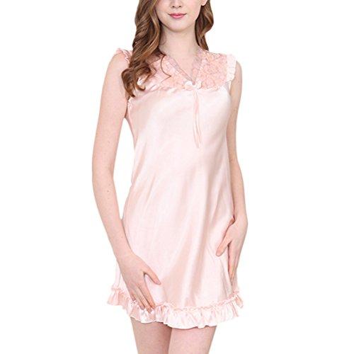 Zhhlaixing Summer Sleeveless Lace Sleep Skirt Womens Home Silk V-collar Nightwear SQ017 Pale Pink