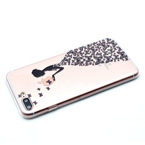 iPhone 7 Plus Hülle,iPhone 7 Plus Schutzhülle,iPhone 7 Plus Silikon Hülle,ikasus® TPU Silikon Schutzhülle Case Hülle für iPhone 7 Plus,Durchsichtig mit Gemalt Kunst Malerei Muster Handyhülle iPhone 7  Schwarze Schmetterlings Kleider Mädchen