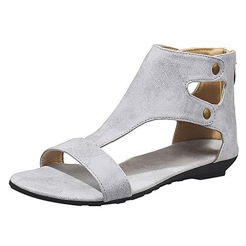 Quaan Damen Damen Freizeit Solide Rom Peep Toe Große Flache Sandalen Schuhe