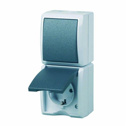 AquaForm AP Kombi Schalter/Steckdose Farbe:grau Ausführung:senkrecht