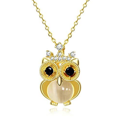 Colgante Collar Brillantes Diamante de Imitación Corona Búho Ámbar Chapado en Oro Plata Collar Moda Mujer Regalo, Oro