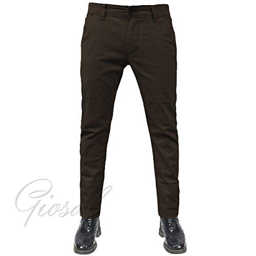 Pantalone Uomo Tasca America Chino Slim Cotone Elastico Bottone Zip Colori Vari GIOSAL-Marrone-44