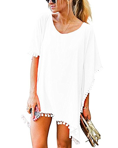 MIXIDON Damen Strandkleid Bikini Cover Up Sommer Bademode Stricken Beach Kleider