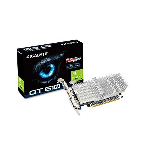 Gigabyte NVIDIA GT610 passiv Grafikkarte (PCI-e, 1GB GDDR3 Speicher, HDMI, DVI, 1 GPU) - 1gi Video Card