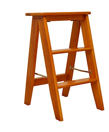 Zemin legno sedie poltrona sgabello tavolo pieghevole in legno massiccio scala a sdraio libreria a tre strati multifunzione (colore : light brown)