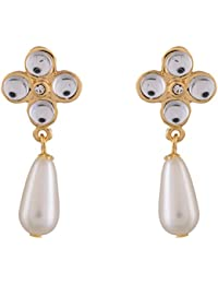 Estelle Gold Plated White Drop And Dangle Pearl Earring Jewellery Set|Earing In Golden Colour A.D Stone Ladies...