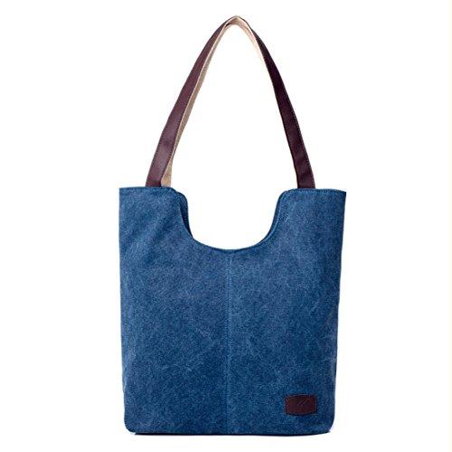 0147e1e4c6504 TUDUZ Frauen Shopper Handtaschen Schultertaschen Handtasche Canvas  Umhängetasche Große Crossbody Tasche Bucket Bag Dunkelblau ...