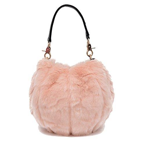 Damen Eimer Tasche Personalisierte Plüsch Handtasche Pink