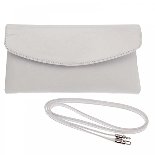 Peter Kaiser Winema Fold Over Clutch With Shld Strap White Patent