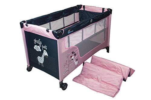 Profiseller Chiccot - Cuna de viaje para niños con colchón elevado para bebés. Portátil y plegable. 124 x 68 x 74 cm (Pink)