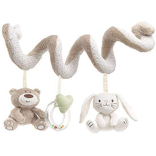 Kinderwagen Spielzeug Activity Spirale zum Aufhängen an Kinderwagenkette Babyschale oder Kinderbett zum Greifen Fühlen Spielen Plüschtiere für Babys und Kleinkinder ab 0+ Monaten (Bär und Hase)