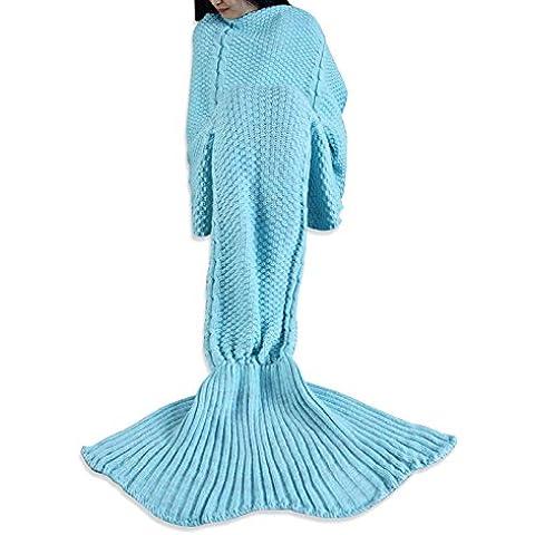 YIZYIF Sirena Manta A Mano Punto Manta Para Dormir Traje De Cola De Sirena Bolsa De Manta De Punto Azul Cielo Para Adultos