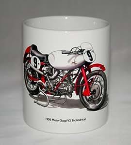 Mug moto. Moto Guzzi Bicilindrical illustration.
